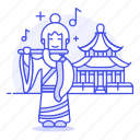 ancient, asian, chinese, female, flute, flutist, history, musician, performer, temple icon