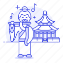 ancient, asian, chinese, flute, flutist, history, male, musician, performer, temple icon