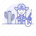 2, bandanna, cactus, cowboy, cowherd, desert, female, hat, herder, history, old, revolver, west, wild icon
