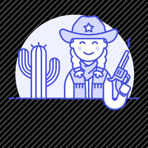 2, bandanna, cactus, cowboy, cowherd, desert, female, hat, herder, history, old, revolver, west, wild icon