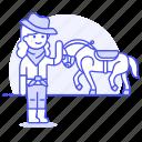 bandanna, cowboy, cowherd, desert, female, hat, herder, history, horse, old, taming, west, wild