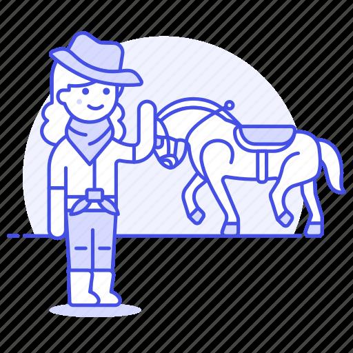 bandanna, cowboy, cowherd, desert, female, hat, herder, history, horse, old, taming, west, wild icon
