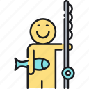 fish, fishing, fishing rod icon