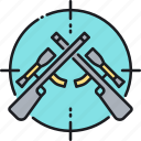 hunting, hunting rifle, marksman, rifle, shooting icon