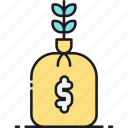 income, investment, money, money bag, money plant, money tree icon