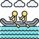 kayak, paddle, raft, rafting, river, river rafting icon
