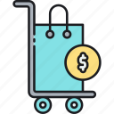retail, shop, shopping, shopping cart, trolley icon