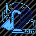 classical, harp, music, violin