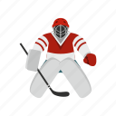 goalkeeper, hockey, ice, player, puck, sport, stick icon