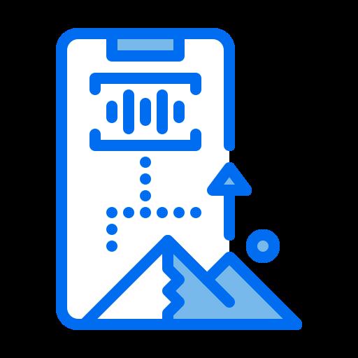 Augmented, mountain, phone, reality, voice icon