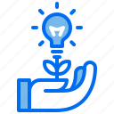 care, eco, energy, hand, lamp, lightbulb, plant icon