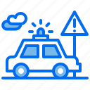 car, cops, law, police, sign, warning icon