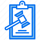 clipboard, document, hammer, justice, law icon