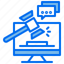 computer, hammer, internet, justice, law, message icon