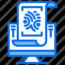 coomputer, document, fingerprint, identification, law icon