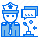 court, justice, law, message, police icon