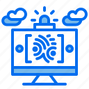 computer, fingerprint, hacker, id, leak, warning icon