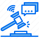 hammer, justice, law, message, wifi, wireless icon