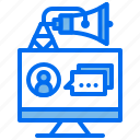 advertising, business, computer, marketing, message, person icon