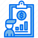 analyst, business, clipboard, document, graph, oney, person icon