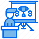 business, money, person, presentation, trophy icon