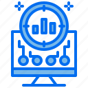analyst, business, computer, graph, inspect, target icon