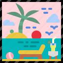 beach, holidays, summer, sunbed, vacations icon
