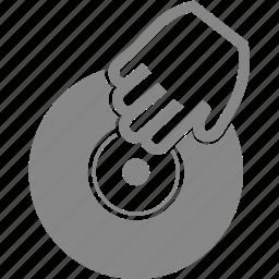 dj, hand, music, play, sound, vinyl icon