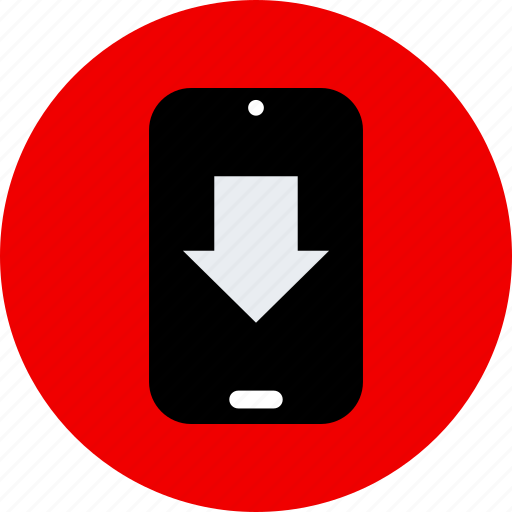 arrow, cell, down, phone icon