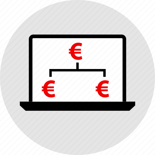 connect, connection, euro, laptop icon