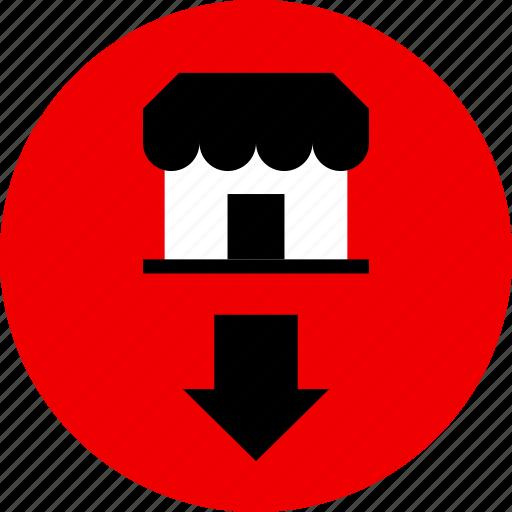 arrow, down, store icon