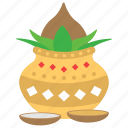 kalasha pot, mango leaves, new year celebration, ugadi, water and coconut icon