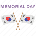 americas federal holiday, crossed flags, memorial day, memorial day sign icon