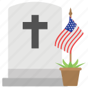 american flag, christian grave, confederate memorial day, cross sign, remembering civil war icon