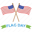 americans flag, crossed flags, federal holiday, flag adoption, flag day icon