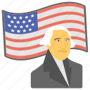 american flag, federal holiday, first president, george washington, presidents day
