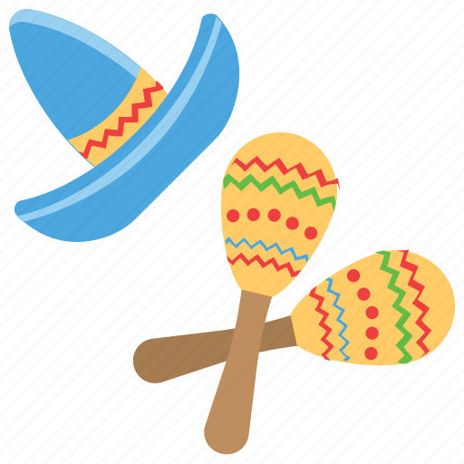 blue hat, cinco de mayo, mexican accessories, mexican rattles pair icon