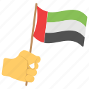 hand with flag, national day, swinging flag, uae flag, uae independence day icon
