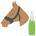 australian state holiday, celebrating event, melbourne cup day, racing horse, wine bottle icon