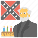 birthday cake, cake with candles, lee's birthday, mississippi flag, robert e lee icon