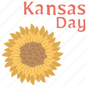 celebrating nature, kansas day, kansas day banner, sunflower, yellow flower icon