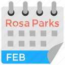 american holiday, civil rights activist, february calendar, rosa parks day, rosa's birthday icon