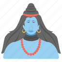 blue shiva, orange beads, shiva art, shiva avatar, shiva shakti icon