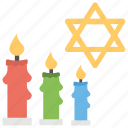 israeli celebration, six-pointed star, star of david, three candles, yom hashoah icon