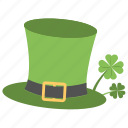 green celebration, green day celebration, green hat, shamrock plant, st patrick's day icon
