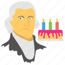 birthday cake, candles on cake, national holiday, thomas jefferson avatar, thomas jefferson's day icon