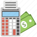 calculator, cash, collection, dollars, parking meter, tax day icon