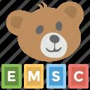 abc blocks, children day, emergency, emsc, medical service, teddy bear icon