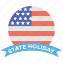 american flag, federal holidays, national holidays, round american flag, state holiday, state holliday banner icon