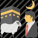 eid ul adha, eid-e-qurban, hajj, pilgrimage, sacrifice feast icon